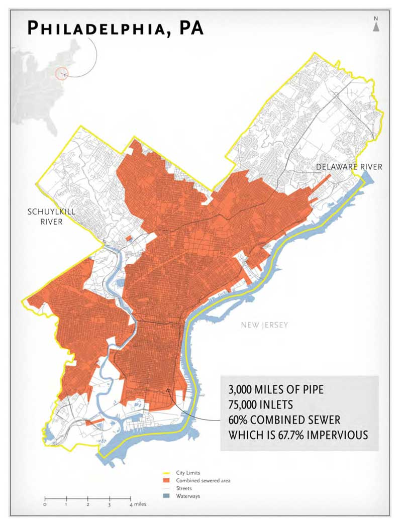 Map of impervious surfaces in the City of Philadelphia